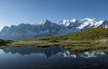 Randonnée facile face au Mont Blanc